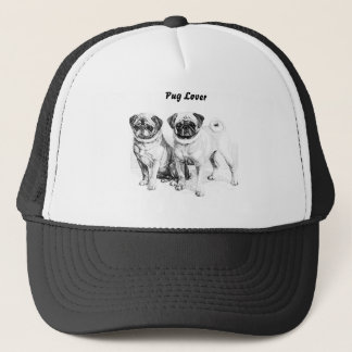 Customizable 2 Precious Pugs Illustration Hats