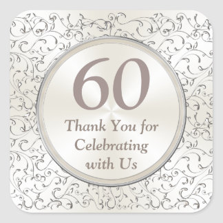 Customizable 60th Anniversary Stickers YEAR, TEXT
