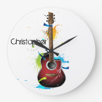 Customizable Acoustic Guitar with Paint Splatters Large Clock
