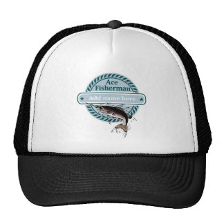 Customizable (add your name) Ace Fisherman badge, Cap