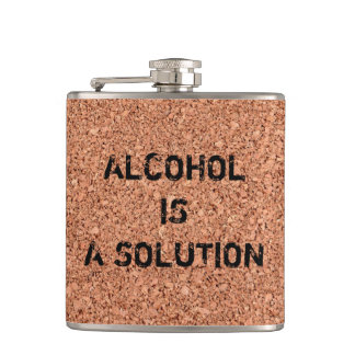 "Customizable ""Alcohol is a Solution"" Funny Hip Flask"