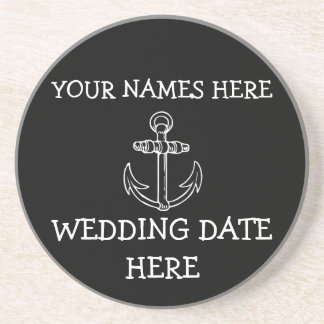 Customizable Anchor Wedding Coaster