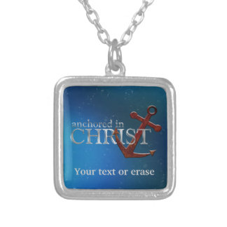 Customizable Anchored in Christ Square Pendant Necklace