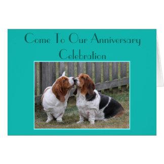 Customizable Anniversary Invitation w/Cute Bassets