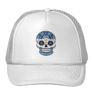 Customizable Argentinian Sugar Skull with Roses Trucker Hat