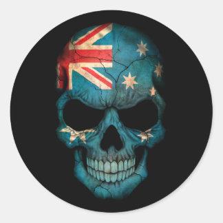 Customizable Australian Flag Skull Round Sticker