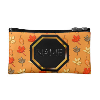 Customizable Autumn Leaves Cosmetics Bag Cosmetics Bags