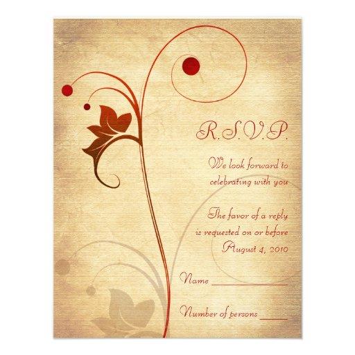 Customizable Autumn Wedding RSVP Reply Card