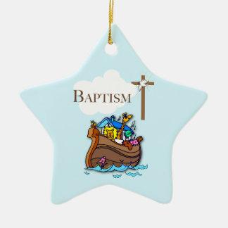 Customizable, Baby Boy Baptism Noah's Ark Ceramic Ornament