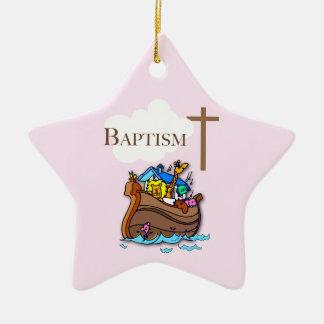 Customizable, Baby Girl Baptism Noah's Ark Ceramic Ornament