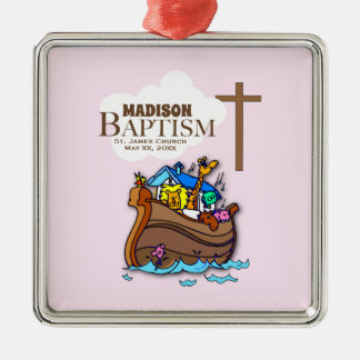Customizable, Baby Girl Baptism Noah's Ark Metal Ornament