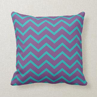 Customizable Background Color Blue Chevron Pillow