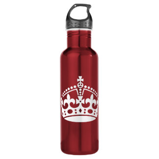 Customizable Background Keep Calm Crown 710 Ml Water Bottle
