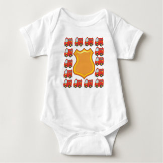 Customizable Badge and Firetruck Baby Bodysuit