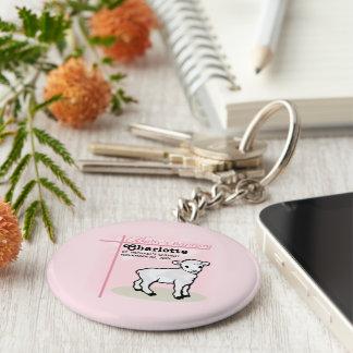 Customizable, Baptism, Pink, Girl, Lamb Key Ring