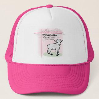 Customizable, Baptism, Pink, Girl, Lamb Trucker Hat