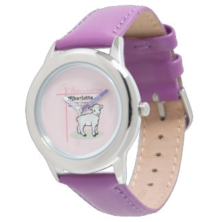 Customizable, Baptism, Pink, Girl, Lamb Watch