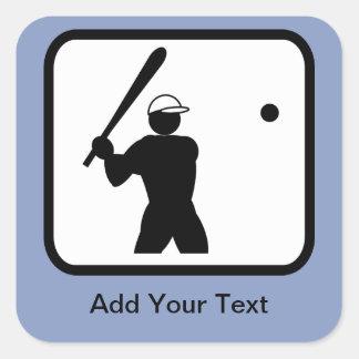 Customizable Baseballer Logo Square Sticker