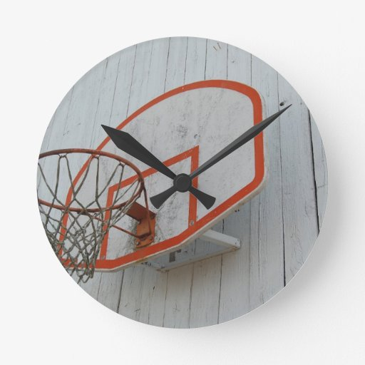 Customizable Basketball Hoop Design Round Wallclocks
