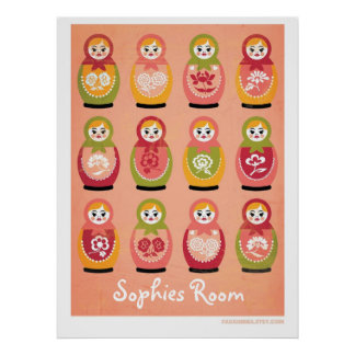 Customizable bedroom poster of russian matryoshka