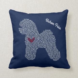 Customizable Bichon Frise Word Cloud Pillow