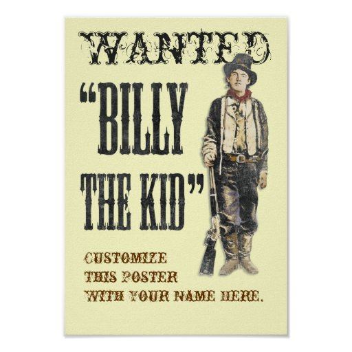 Customizable Billy the Kid Print
