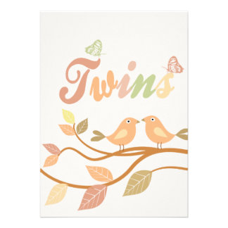 Customizable bird leaves twins card