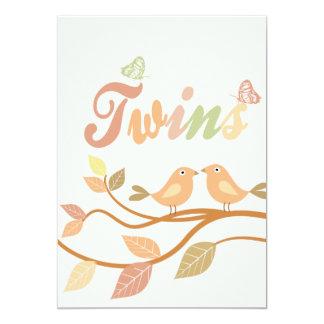 Customizable bird leaves twins card 13 cm x 18 cm invitation card