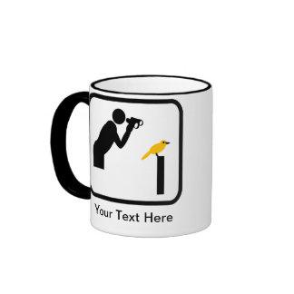 Customizable Birder / Bird Watcher Logo Ringer Coffee Mug
