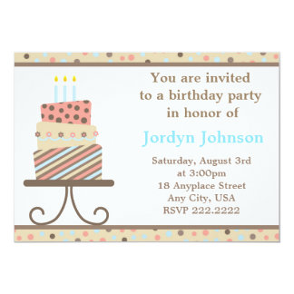 Customizable Birthday Cake Party Invitation