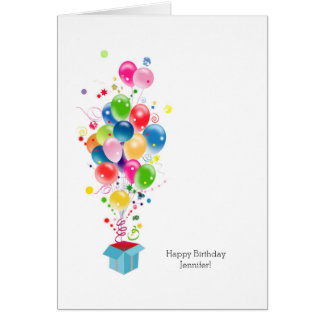 Customizable Birthday Cards Colorful Balloons