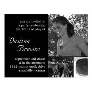 Customizable Birthday Invite Card Photo Invitation Postcard