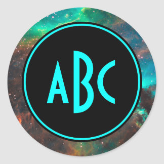 Customizable Black and Aqua Three Letter Monogram Classic Round Sticker