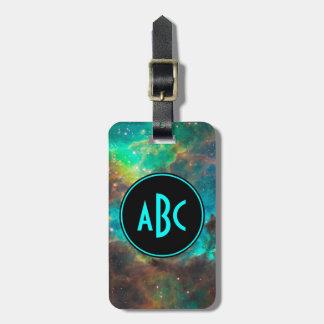 Customizable Black and Aqua Three Letter Monogram Luggage Tag