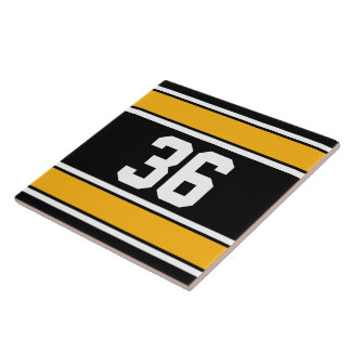 Customizable Black and Gold Sports Stripes Large Square Tile