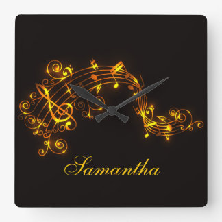 Customizable Black and Gold Swirling Musical Notes Square Wall Clock