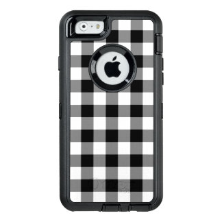 Customizable Black and White Buffalo Plaid OtterBox Defender iPhone Case