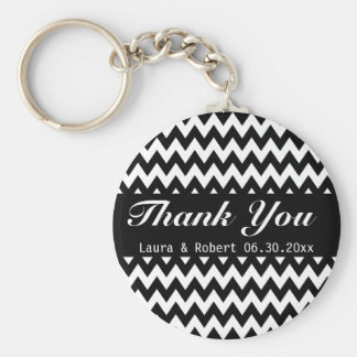 Customizable Black and White Chevron Wedding Favor Basic Round Button Key Ring