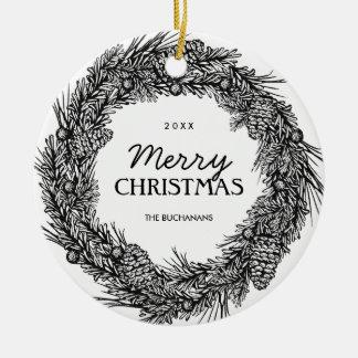 Customizable Black and White Wreath Photo Ornament