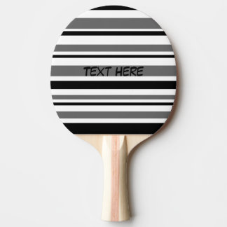 Customizable Black, Gray, White Stripes Ping Pong Paddle