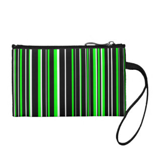 Customizable Black Lime Green and White Stripe Coin Wallets