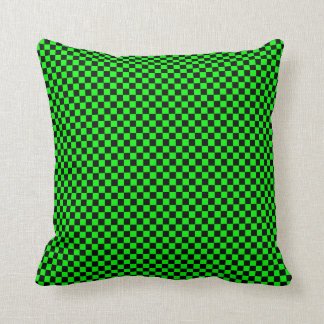 Customizable Black/Lime Green Checkered Cushion