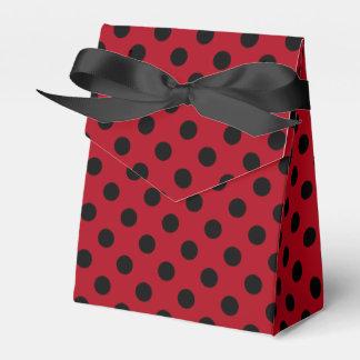 Customizable Black on Red Polka Dot Favour Box