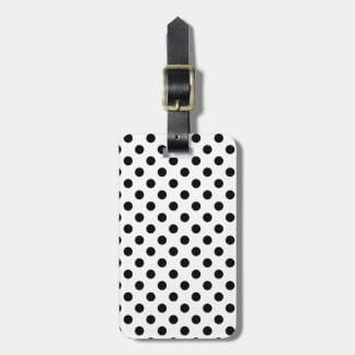 Customizable Black on White Polka Dot Luggage Tag