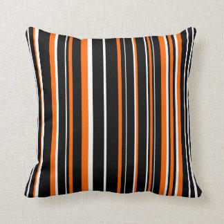 Customizable Black, Orange, & White Stripe Throw Pillow