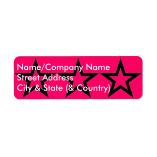 Customizable Black Star on Pink Return Address Lab Return Address Label