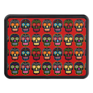 Customizable Black Sugar Skulls Tow Hitch Covers