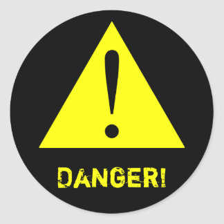 Customizable Black & Yellow Warning Symbol Sticker