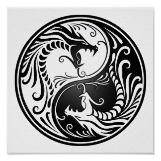 Customizable Black Yin Yang Dragons Posters