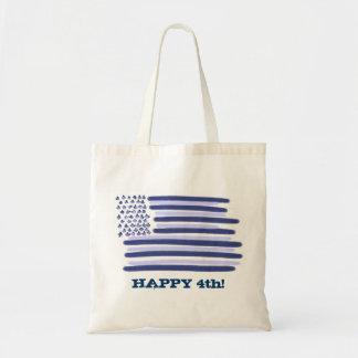 Customizable blue American flag 4th july bag